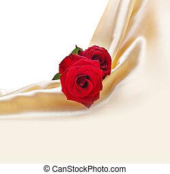 roses, soie, arrière-plan rouge