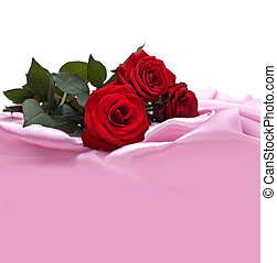 roses, soie, rouges