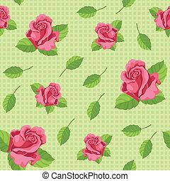 roses, vert, seamless