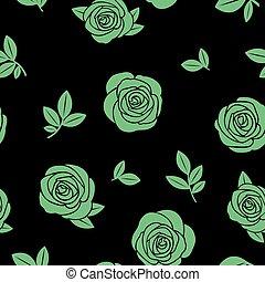 roses, vert, seamless, texture