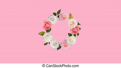 rotation, animation, fleurs, espace, hypnotique, copie, mouvement, fond, rose