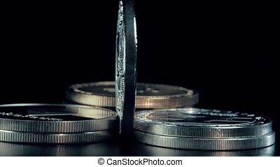 rotation, bitcoin, stand., arrière-plan., monnaie, noir, crypto, argent
