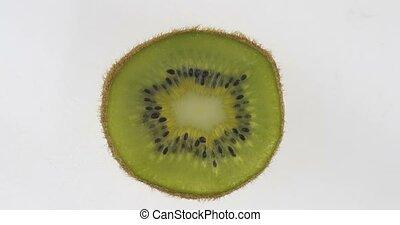 rotation, citrus, kiwi, mince, slice., transparent, texture.