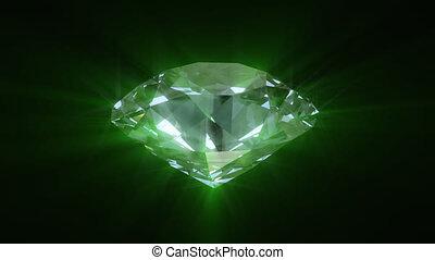 rotation, diamant, vert, briller