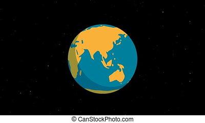 rotation, espace, terre planète