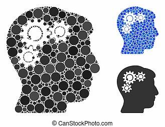 rotation, icône, esprit, mosaïque, cercle, points, engrenage
