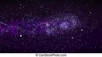 rotation, nebulas, voler, profond, par, espace, champs, laiteux, galaxie, animation, galaxie, space., révéler, étoile, way., 3d, rendre, spirale