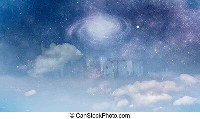 rotation, sur, stonehenge, galaxie