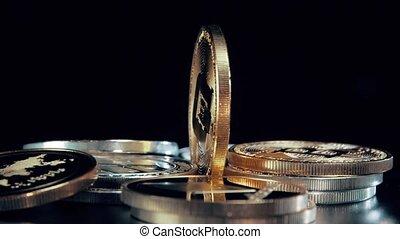 rotation, tiret, stand., or, arrière-plan., monnaie, noir, crypto, argent