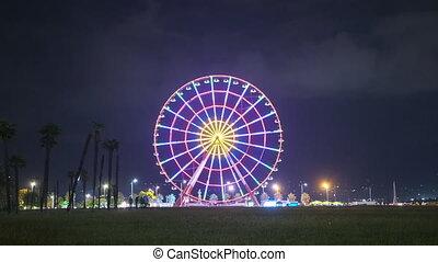 rotations, ferris, coloré, lumières, roue, nuit