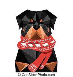 rottweiler, chien, illustration, origami, noël, écharpe