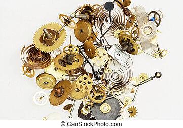 rouage horloge, cassé, mécanisme