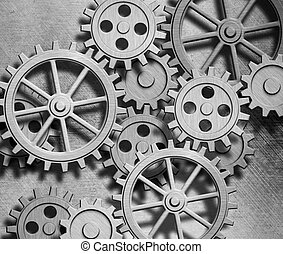rouage horloge, métal, engrenages, fond