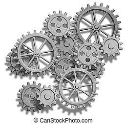 rouage horloge, résumé, blanc, isolé, engrenages
