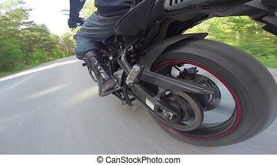 roue, équitation, motocyclette, vue postérieure