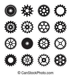 roue, 2, ensemble, engrenage, icônes