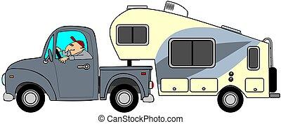 roue, 5ème, camion, caravane
