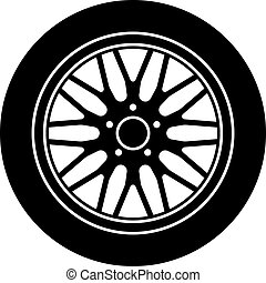 roue, aluminium, voiture, symbole, vecteur, noir, blanc