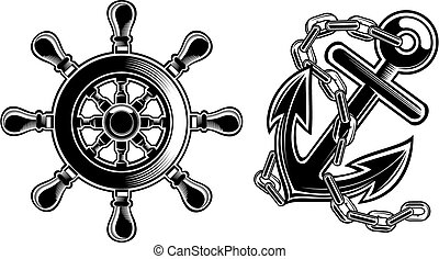 roue, bateau, direction, ancre