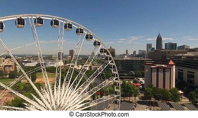 roue bleue, journée, en ville, ferris, atlanta, cieux