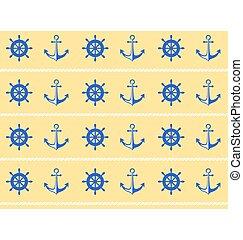 roue bleue, pattern., seamless, mer jaune, poupe, ancre