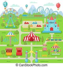roue, caboteur, famille, divertissement, festival, map., parc, illustration, ferris, vecteur, amusement, attractions, rouleau, carrousel