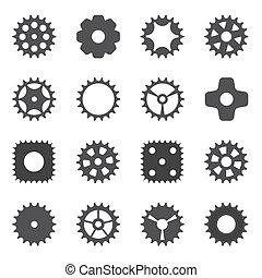 roue, cogwheel., illustration., machine, vecteur, engrenage