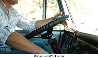 roue, conducteur camion, camion