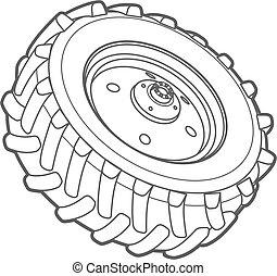 roue, contour, tracteur