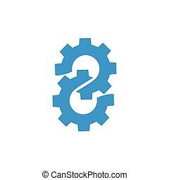 roue dent, logo, vecteur, deux, machine