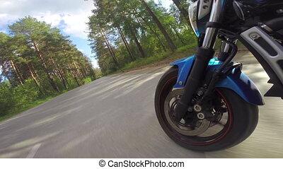 roue, devant, motocyclette, vue, équitation