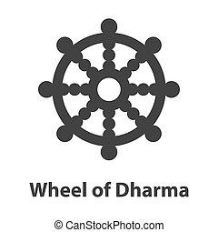 roue, dharma, symbole., signe, religion, bouddhisme, icône