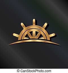 roue, doré, bateau, marin, logo