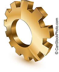 roue, doré, engrenage