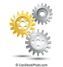 roue, emblème, engrenage, dent