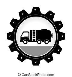 roue, engrenage, brûler, intérieur, camion, monochrome