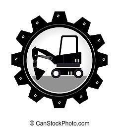 roue, engrenage, camion chariot élévateur fourche, monochrome, fourchettes