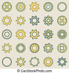 roue, engrenage, collection, retro
