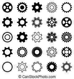 roue, engrenage, icônes