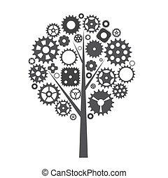 roue, engrenage, roue dentée, arbre, illustration, machine, vecteur, concept.