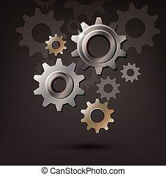 roue, engrenage, roue dentée, machine, vecteur, icône