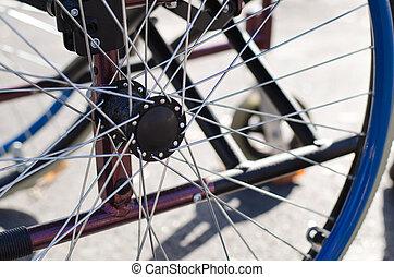 roue, fauteuil roulant, spokes