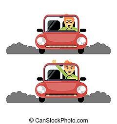 roue, femme, derrière, voiture., temps, rouges, premier