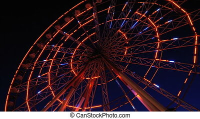 roue, ferris, lumières, nuit