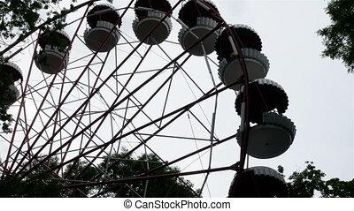 roue, ferris, parc