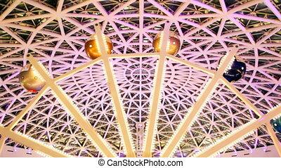 roue, ferris, toit, boîte nuit, lumières, sous, clignotant, voûte