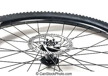 roue, frein, gros plan, disque, vélo