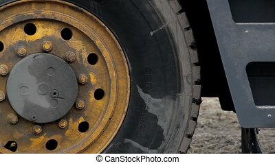 roue, grand, pneus, équipement, construction, camion
