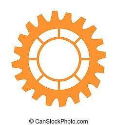 roue, monochrome, silhouette, engrenage