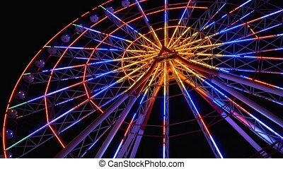 roue, nuit, ferris, tourne, lumières